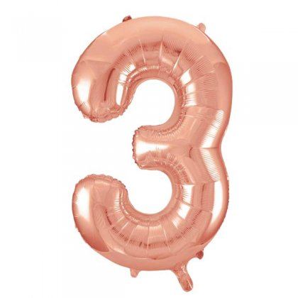 Rose Gold Number 3 Supershape Balloon