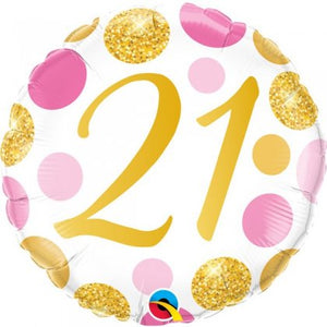 21st Pink And Gold Dots Balloon