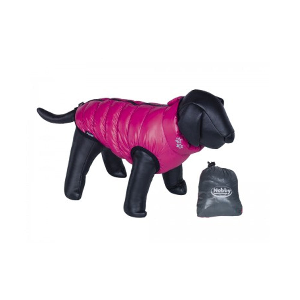 Hundemantel light grau- himbeere 36 cm
