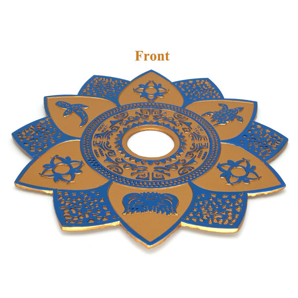 Blue Brown Large Metal Hookah Tray