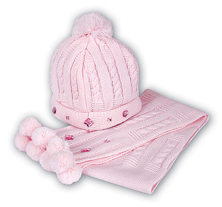 Pink Pom-Pom Top Hat and Scarf