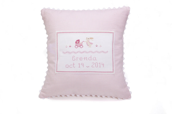 Bunny with Stroller Personalized Pillow