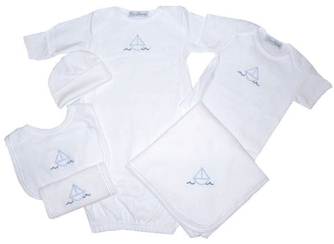 6 Piece Layette Sailboat Set