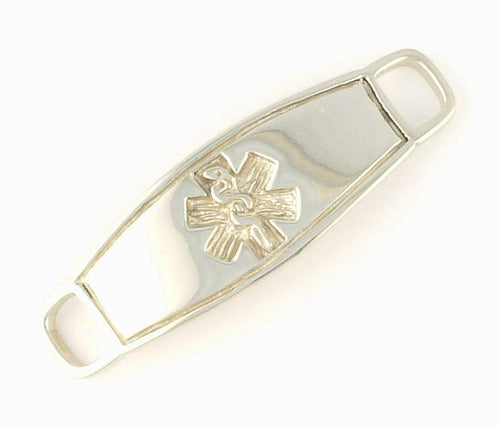 White Gold Contempo Medical ID Tag