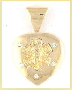 14k Diamond Studded Gold Medical Pendant