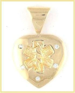 14k Diamond Studded Gold Medical Pendant - n-styleid.com