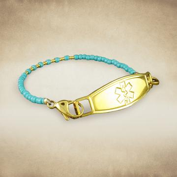 Ayita Turquoise Beaded Medical Bracelet - n-styleid.com