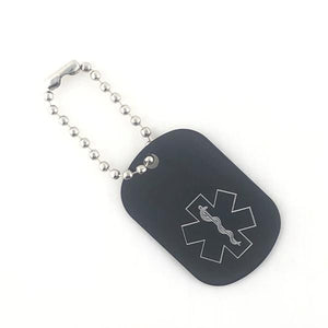 Black Medical Alert Keychain - n-styleid.com