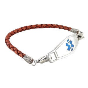 Medical ID Bracelet Cognac Braided Leather - n-styleid.com