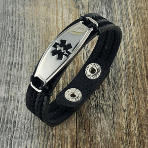 Chevron Black Vegan PU Leather Medical Bracelet