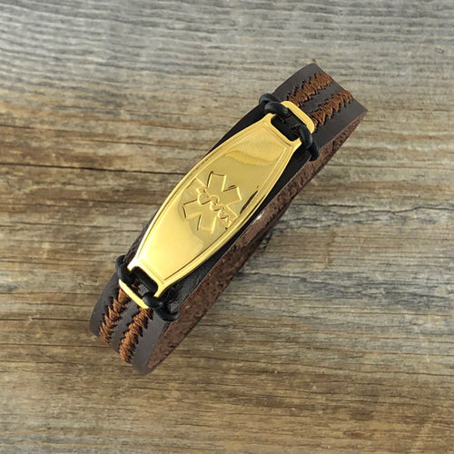 Chevron Brown Vegan PU Leather Medical Alert Bracelet