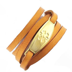 Cognac Wrap Leather Medical Alert Bracelets - n-styleid.com