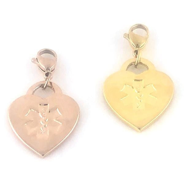 Gold Medical Alert Charms Rose or Yellow Gold