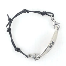 Black Knots Leather Medical Bracelet w/Contempo ID - n-styleid.com
