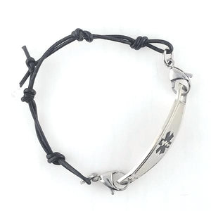 Black Knots Leather Medical Bracelet w/Contempo ID
