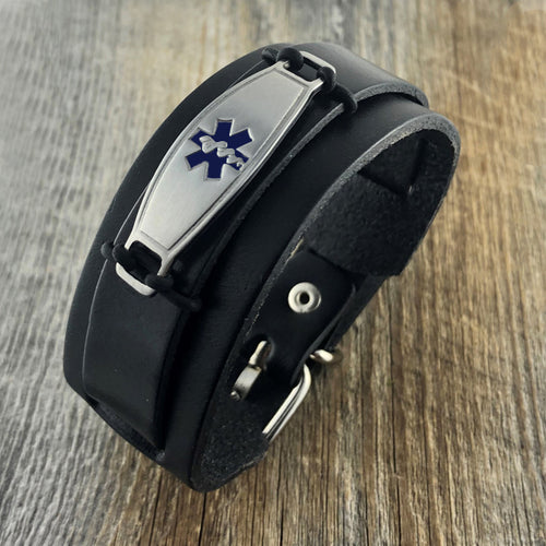 Maverick Black Leather Medical Bracelet