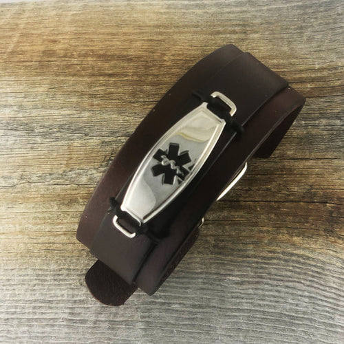 Maverick Brown Leather Medical Alert Bracelet