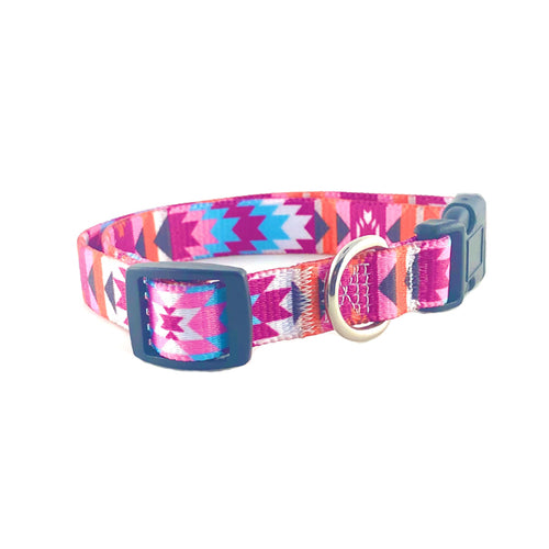 Pink Aztec Dog Collar and Leash