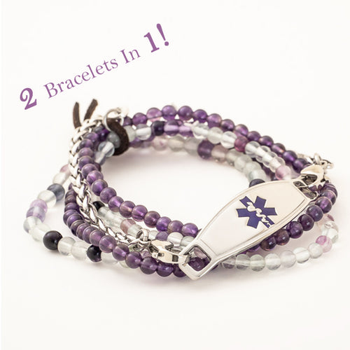 Raina 2 in 1 Chain & Beaded Medical ID Bracelet