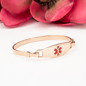 Rose Gold Medical ID Bangle