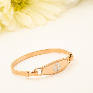 Rose Gold White Star Medical ID Bangle