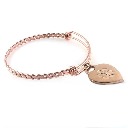 Braided Rose Gold Medical Charm Bracelet - n-styleid.com