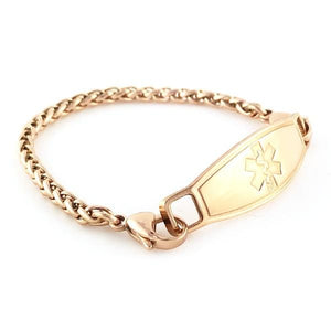 Rose Wheat Medical ID Bracelet - n-styleid.com