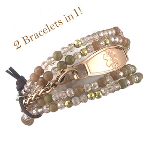 Texas Rose 2 in 1 Beaded Medical ID Bracelet