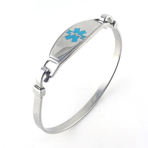 Turquoise Stainless Steel Bangle Medical Bracelet - n-styleid.com