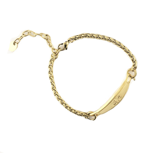 Yellow Gold Adjustable Medical ID Bracelet
