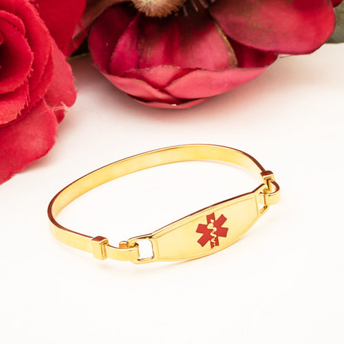 Yellow Gold Medical Bracelet Bangle