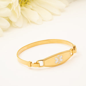 Yellow Gold White Star Medical Bracelet Bangle
