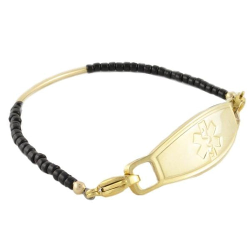 Aerial Gold Beaded Medical Bracelet with yellow gold lobster clasps that attach to a gold plated medical tag