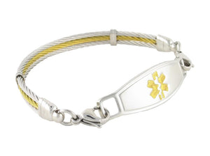 Golden Gate Gold and Silver Cable Medical ID Bracelet with Contempo Medical Tag