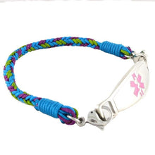 Aqua Braided Medical ID Bracelets - n-styleid.com