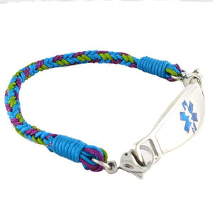 Aqua Braided Medical ID Bracelets