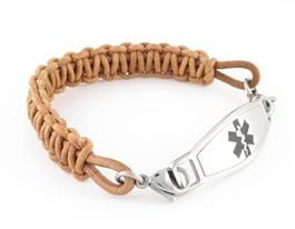 Artisan Tan leather braided medical alert bracelet with stainless steel medic alert tag