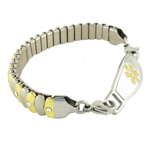 Asteria Stretch medical bracelet with stainless steel medic alert tag