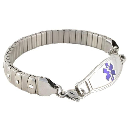 Athena Crystal Stretch Medical Alert Bracelet with stainless steel medical alert ID tag