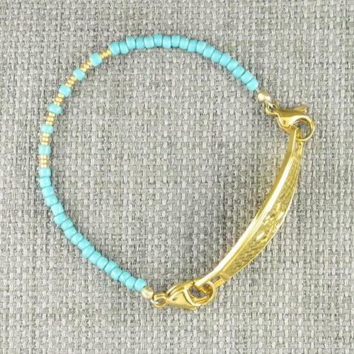 Ayita Turquoise Beaded Medical Bracelet with gold medical ID tag
