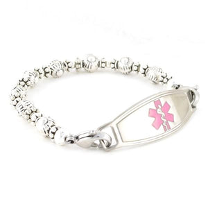 Bali Sterling Silver Beaded Medical Bracelet with lobster clasps that attach to stainless steel medical tag