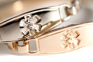 14K White Gold Bangle Medical ID Bracelets - n-styleid.com