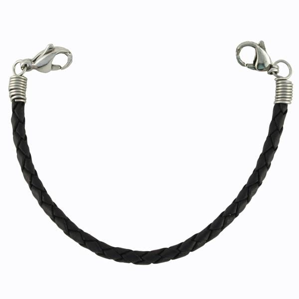 Black Braided Leather Interchangeable Medical Bracelet