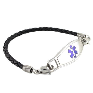 Medical ID Bracelet Black Braided Leather