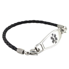 Black Braided Leather Medical Bracelet with stainless steel medical tag