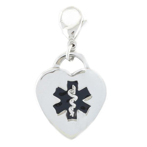Black Heart Medical Charms w/ Lobster Clasp