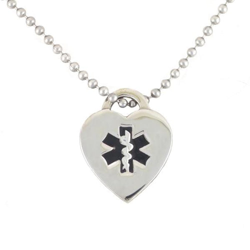 Black Heart Medical Necklace