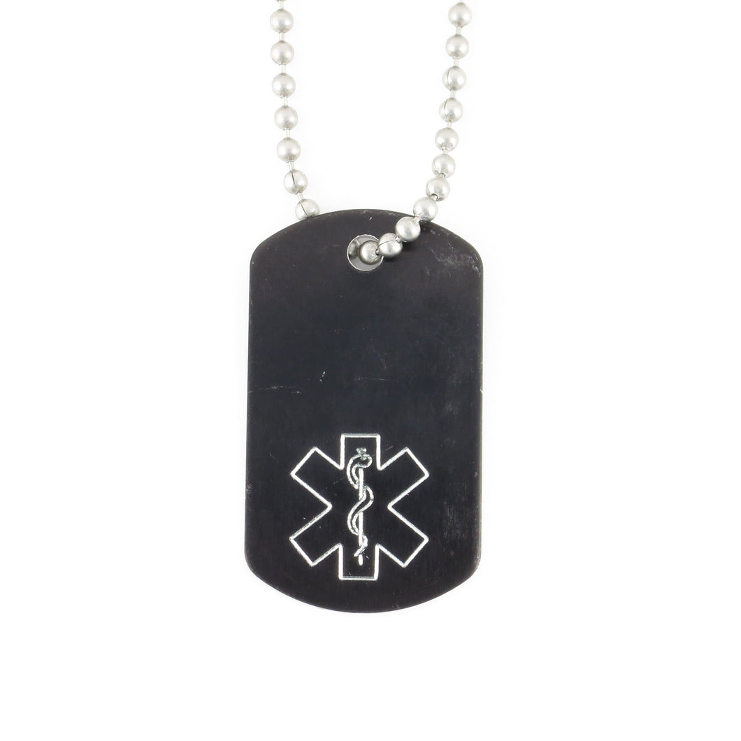 Black Mini Medical Dog Tag - n-styleid.com