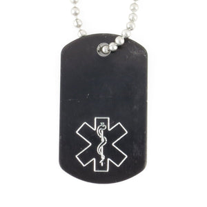 Black Mini Medical Dog Tag