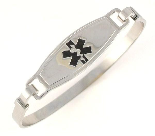 Black Stainless Steel Bangle Medical Bracelet - n-styleid.com